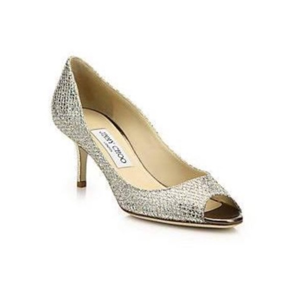 5790f6a842b Jimmy Choo Shoes - Jimmy Choo Isabel Champagne Glitter Peep Toe Pumps